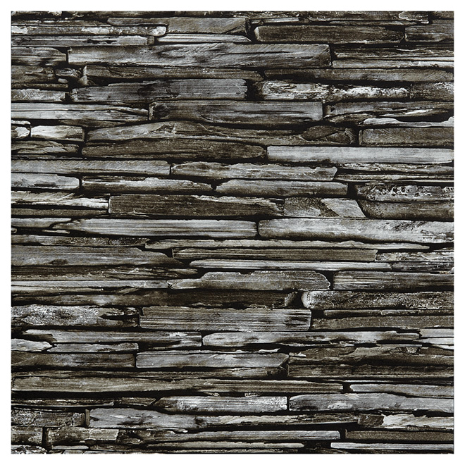 "Wallpaper- Stacked Slates- 20.5"" x 33' - Grey"