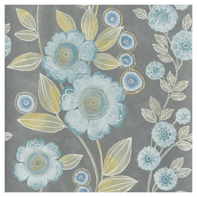 papier peint fleuri 20 5 x 33 39 bleu gris rona. Black Bedroom Furniture Sets. Home Design Ideas