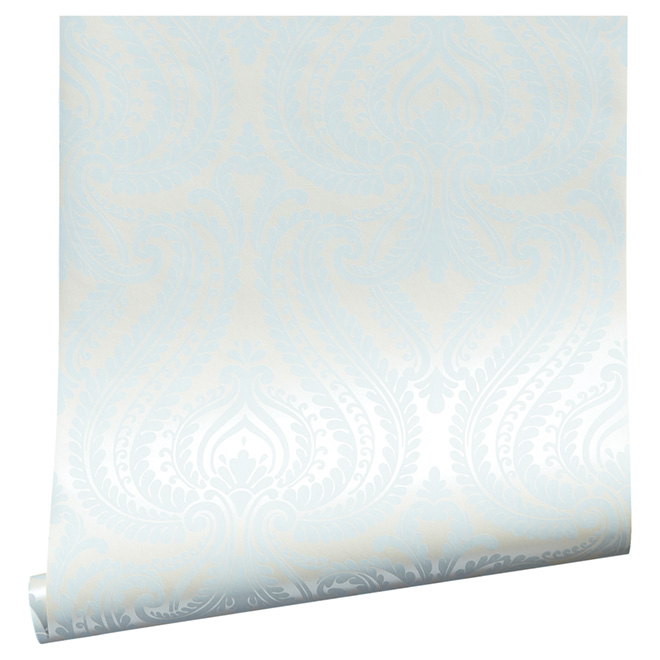"Wallpaper - Damask - 20.5"" x 33' - Light blue"