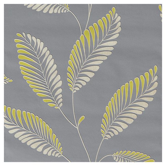 papier peint motif de feuilles 20 5 x 33 39 jaune gris rona. Black Bedroom Furniture Sets. Home Design Ideas