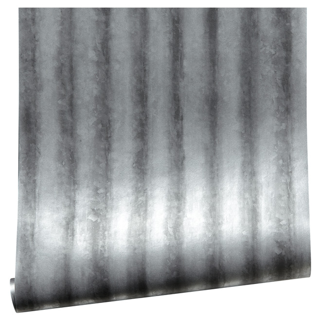 "Wallpaper - Corrugated Metal - 20.5"" x 33'- Silver/Grey"