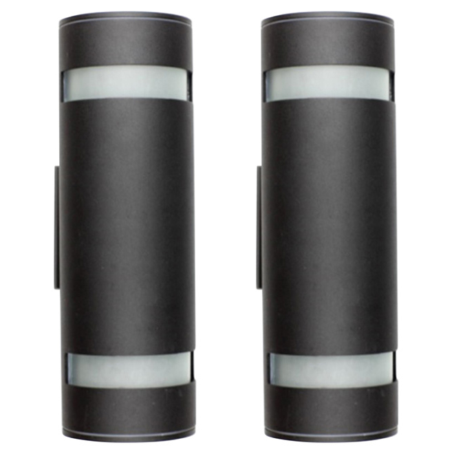2-Light Outdoor Wall Sconce - Black - 2 Pack