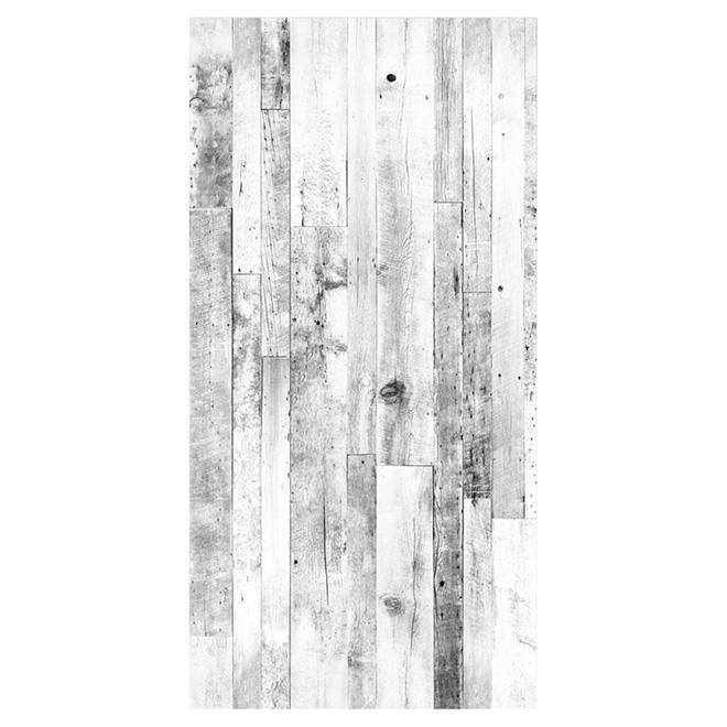 rev tement mural imitation bois de grange 48 x 96 blanc rona. Black Bedroom Furniture Sets. Home Design Ideas