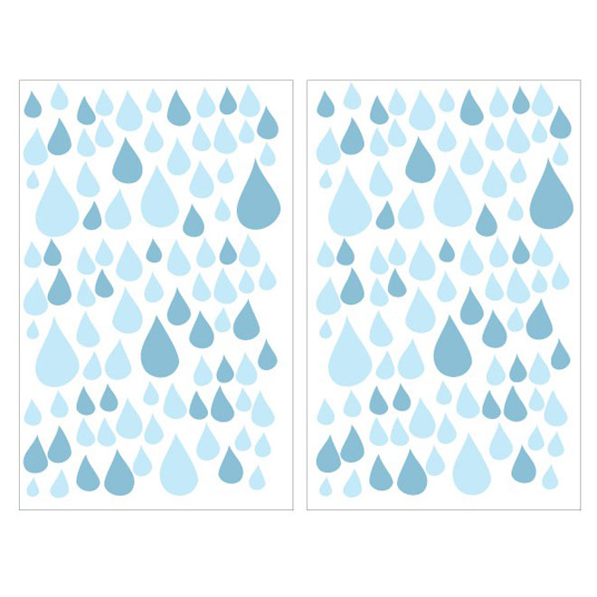 "Removable Vinyl Wall Decal - ""Water Drops"" - 2-Pack"