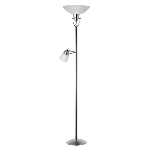 "Torchiere with Reading Lamp 71"" - Silver/White"