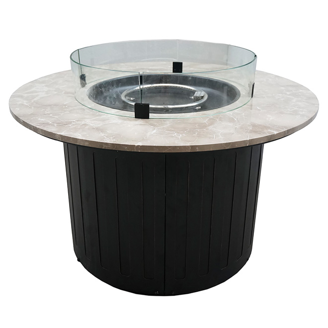 Foyer ext rieur au propane acier marbre rond 40 rona for Foyer d exterieur table luca