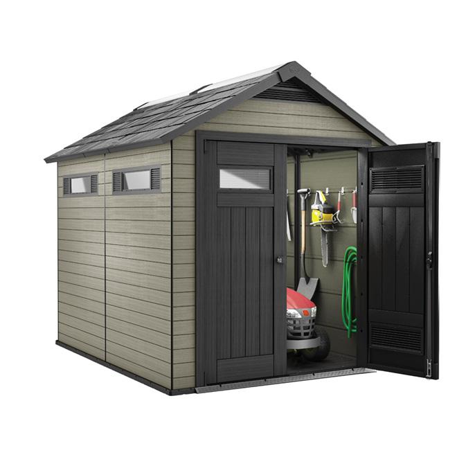 Garden Sheds Rona fusion garden shed - 7 1/2' x 7' - beige/black | rona