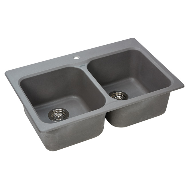 "Double Granite Sink -Top/Under -31 1/2"" - Grey"