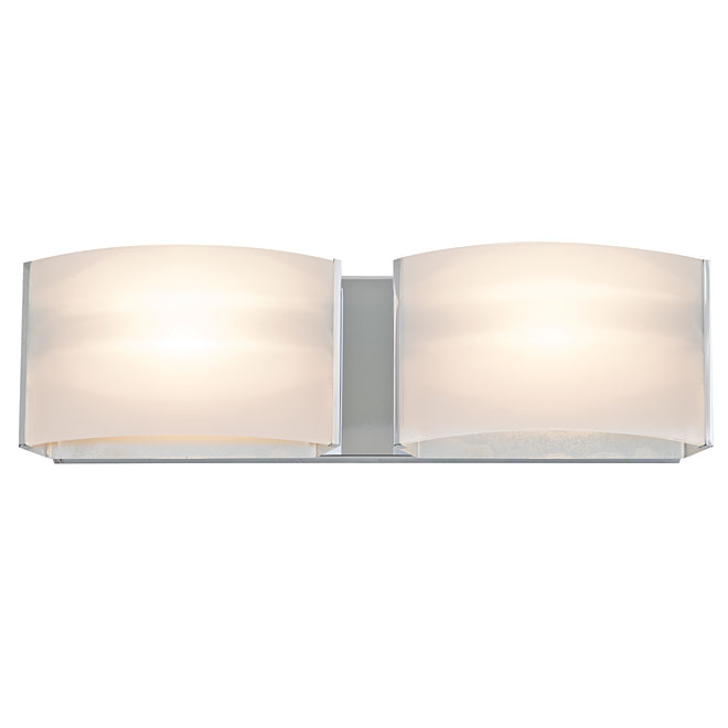 2-Light Wall Sconce - Glass/Metal - Chrome