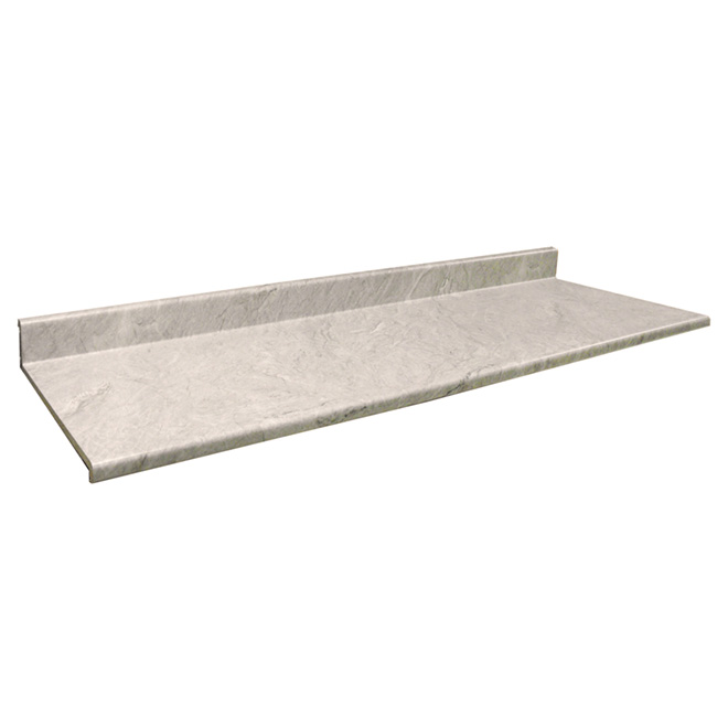 "Moulded Counter 2300, Quartzite Argente, 22,5"" x 3'"