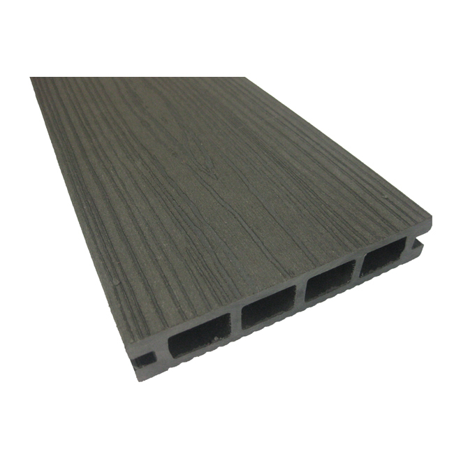 Planche en composite pour terrasse 12 pi gris rona for Plancher exterieur plastique