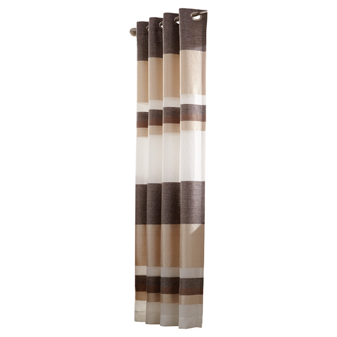 Elegance Grommet Curtain - Brown and Gold Stripped