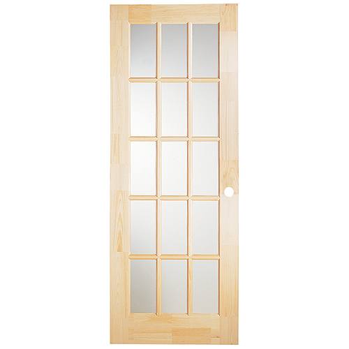"15-Panel Pine French Door 32"" x 80"" - Natural"