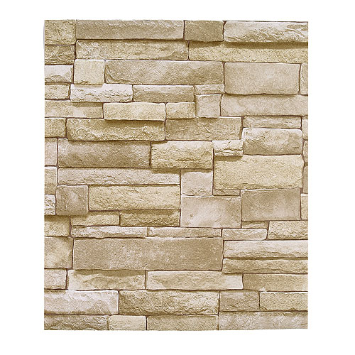 Stone effect wallpaper rona for Carrelage mural brique