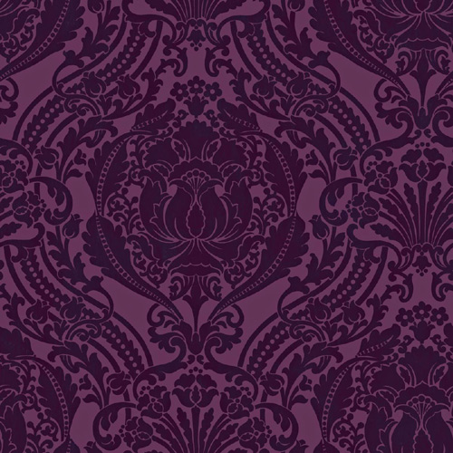 Damask Prepasted Wallpaper - Purple