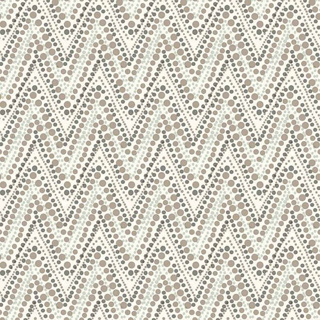 "Prepasted Wallpaper ""Dotty and Chevron"" - Silver"