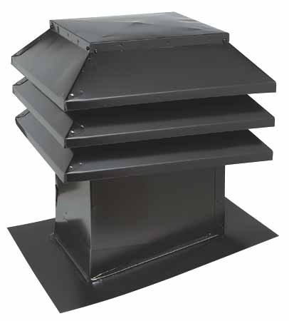 "Sloped-Roof Vent 12"" x 12"" - Black"
