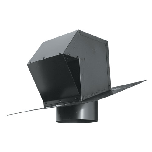 "Black 6"" Galvanized Steel Roof Exhaust Trap"