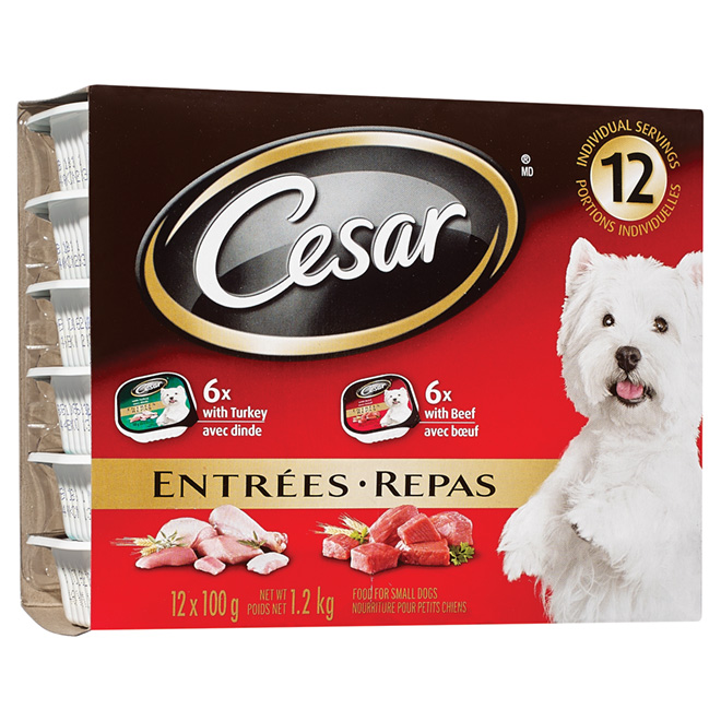 Wet Entrées for Small Dogs Beef and Turkey - 12 Servings
