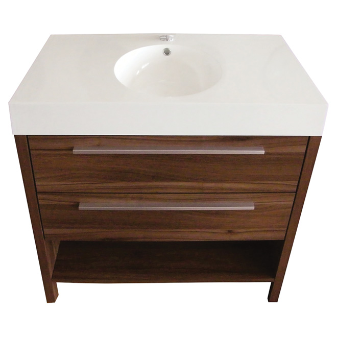 meuble lavabo 2 tiroirs et 1 tablette 35 1 2 noyer rona. Black Bedroom Furniture Sets. Home Design Ideas