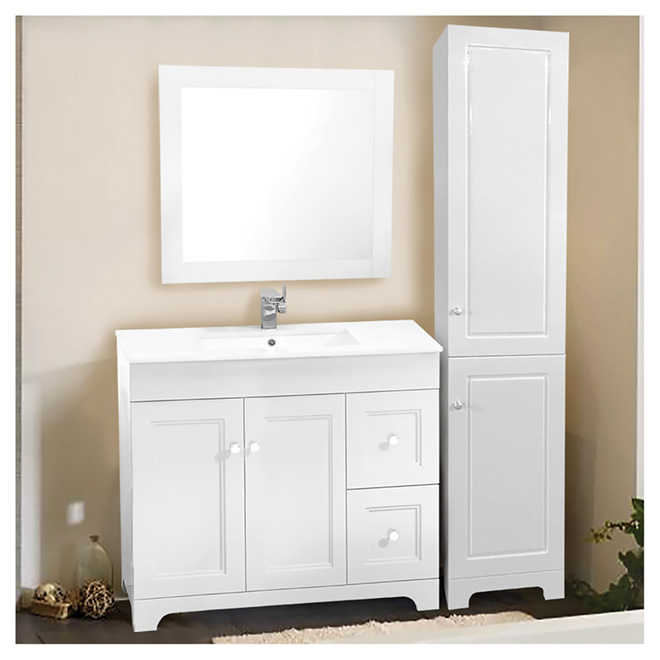vanity sink with mirror and linen cabinet 37 3 pieces rona. Black Bedroom Furniture Sets. Home Design Ideas