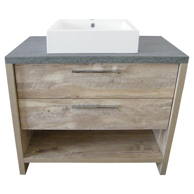 Meuble lavabo countryside 2 tiroirs 36 couleur bois for Meuble lavabo bois