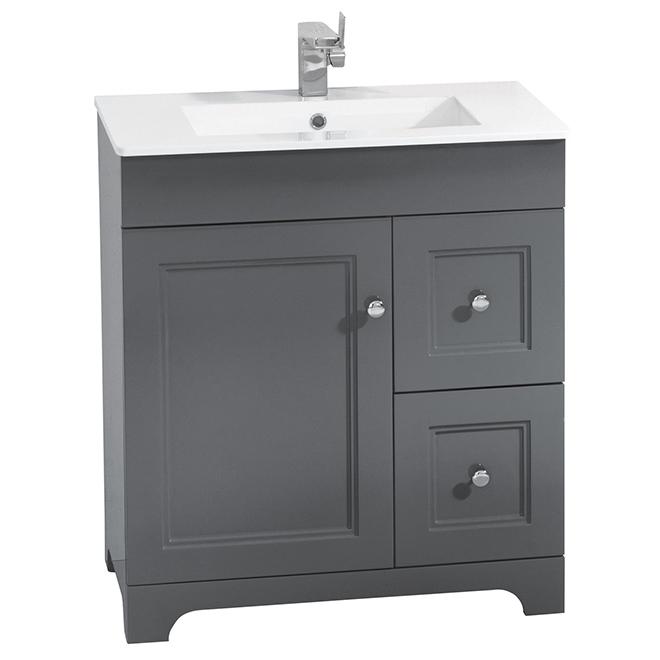 Vanity Sink   1 Door   2 Drawers   Classic   Light Grey