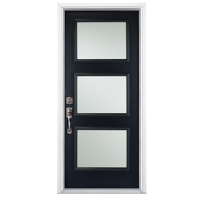 Porte en acier 3 panneaux 36 noir ouverture droite for Masonite porte exterieur