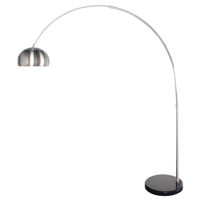 Lampe sur pied 90 5 nickel satin noir rona - Lampe de salon sur pied ...