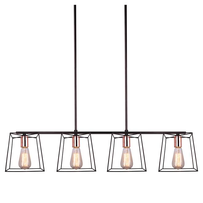 """Coppertech"" 4-Light Adjustable Pendant Light - 38"""