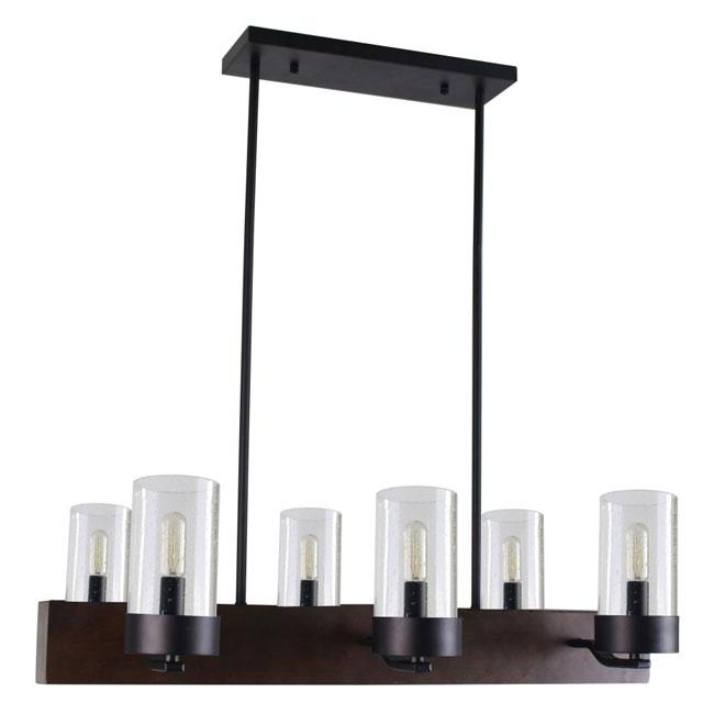 Pendant - 6 Lights - Glass Shades - Dark Wood
