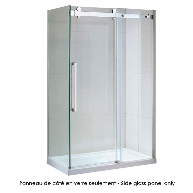 Sierra side glass shower panel rona for Porte de douche rona