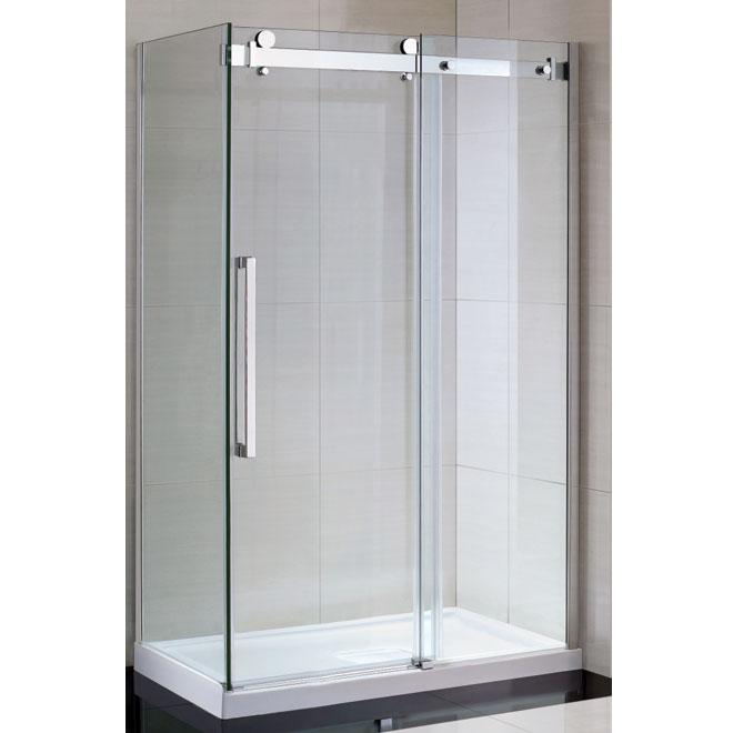 Choisir une douche modulaire monocoque ou une base de douche - Paroi de douche avec porte coulissante ...