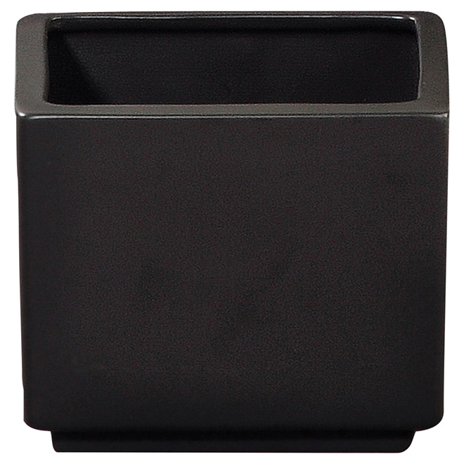 "Square Ceramic Pot Cover 10"" - Black"