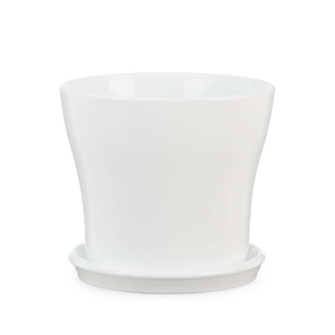 Ceramic Planter and Saucer 19cm - White