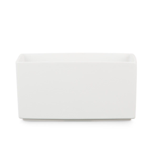 cache pot en c ramique rectangulaire 25cm blanc rona. Black Bedroom Furniture Sets. Home Design Ideas