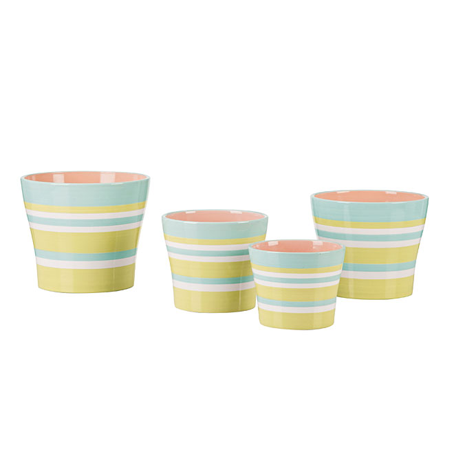 "Ceramic Cover Pot 6"" - Striped"