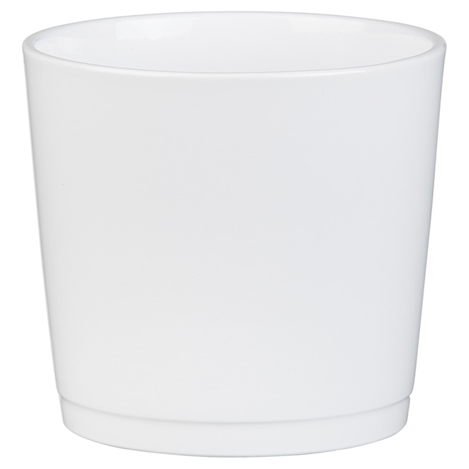 "Ceramic Cover Pot - 883 - 5"" - White"