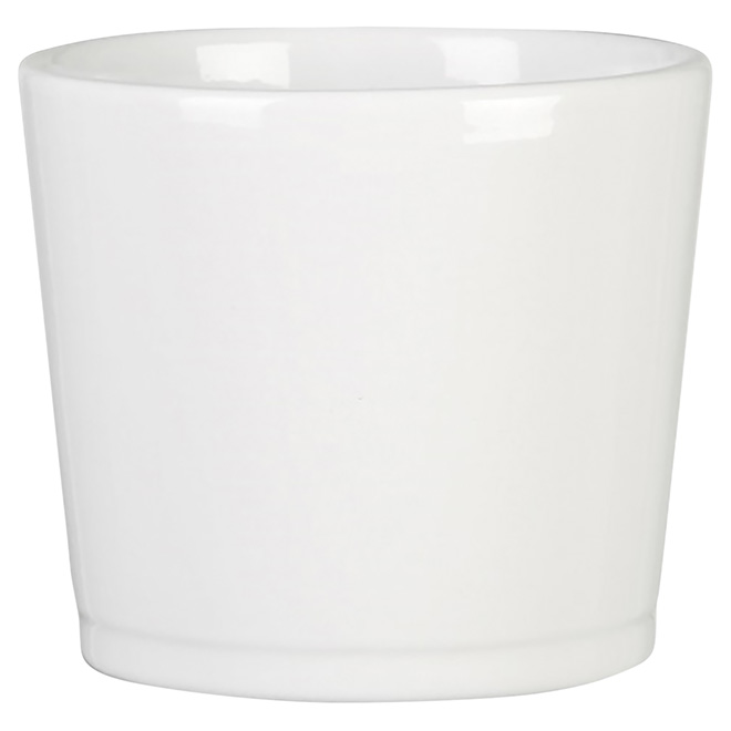 "Ceramic Cover Pot - 883 - 6.6"" - White"