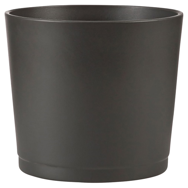 "Ceramic Cover Pot - 883 - 6.6"" - Black"