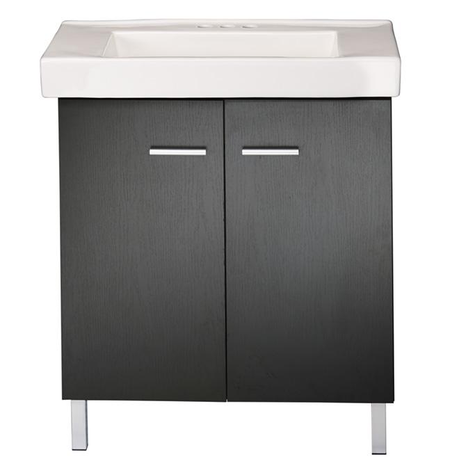Meuble lavabo 2 portes marsala noir rona for Meuble lavabo noir