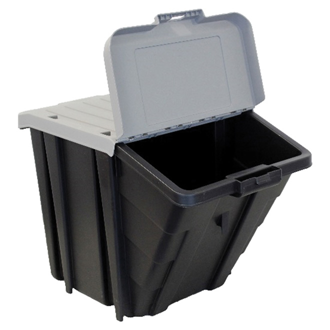 Stackable Storage Box with lid - 61L - black and grey