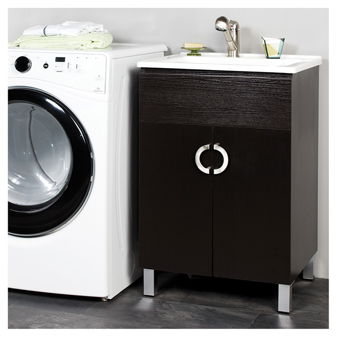 """Cella"" Laundry Sink with Cabinet - Espresso"