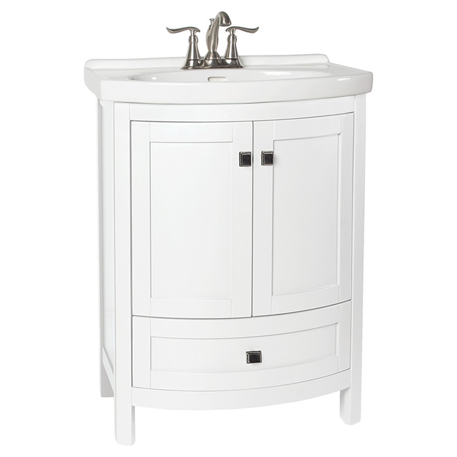 Tallia vanity with 2 doors and 1 drawer white rona for Armoire de salle de bain rona