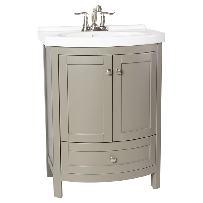 Tallia vanity with rounded doors grey rona for Lavabo salle de bain rona