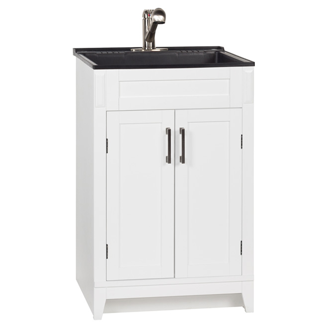 meuble lavabo pour buanderie axbridge 2 portes 24 blanc rona. Black Bedroom Furniture Sets. Home Design Ideas