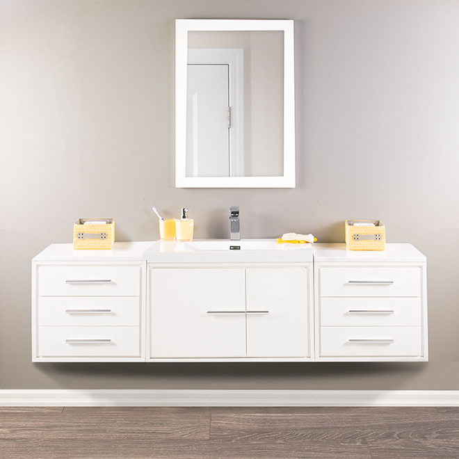 Cabinet With Marble Top   Carlington   3 Drawers  Gloss White