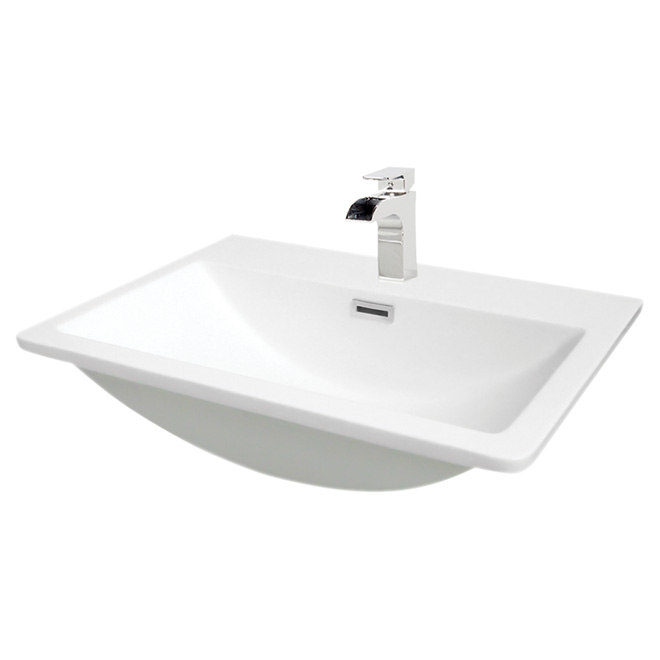 Drop in lavatory faenza 22 x 16 white rona for Lavabo salle de bain rona