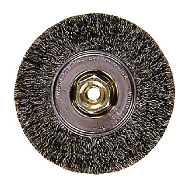CRIMPED WIRE WHEEL BRUSH 4X5/8X5/8""