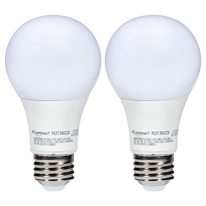 6W LED Non-Dimmable A19 Bulb - Warm White - 2-Pack